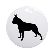 boston terrier black 2 Ornament (Round)