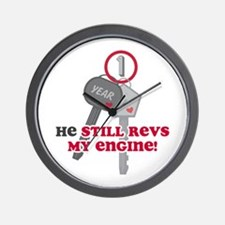He Revs My Engine 1 Wall Clock