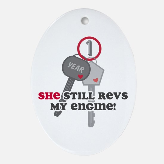 She Revs My Engine 1 Ornament (Oval)