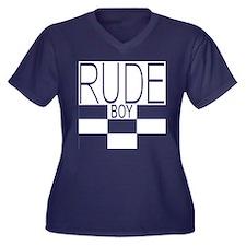 Rude Boy Women's V-Neck Dark Plus Size T-Shirt