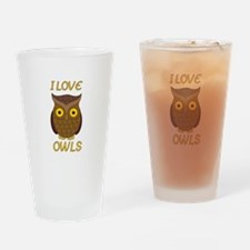 I Love Owls Drinking Glass