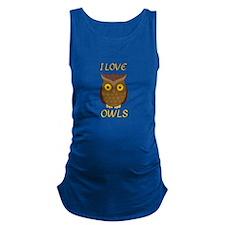 I Love Owls Maternity Tank Top