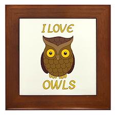 I Love Owls Framed Tile