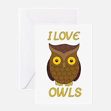 I Love Owls Greeting Card