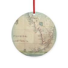 Florida Keys Antique Map Round Ornament