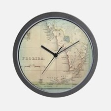 Florida Keys Antique Map Wall Clock