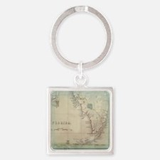 Florida Keys Antique Map Square Keychain