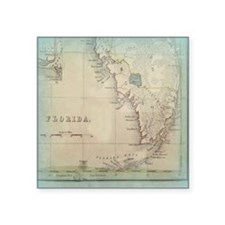 "Florida Keys Antique Map Square Sticker 3"" x 3"""