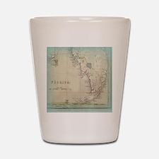 Florida Keys Antique Map Shot Glass