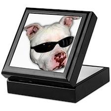 Pitbull with sunglasses Keepsake Box
