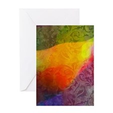 colored brocade Greeting Cards