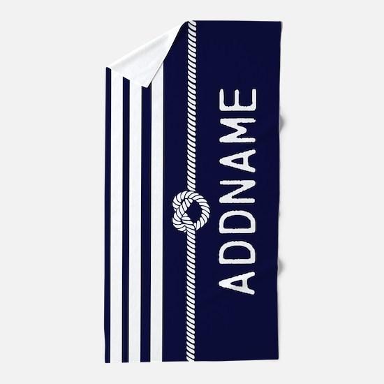 Navy Blue White Stripe Personalized Beach Towel