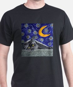 Starry night black cat T-Shirt