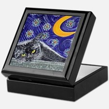 Starry night black cat Keepsake Box