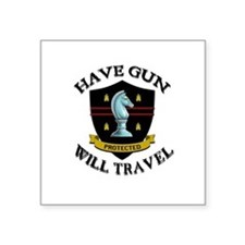 "Funny Gunslingers Square Sticker 3"" x 3"""