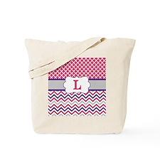 Pink Purple Quatrefoil Chevron Monogram Tote Bag