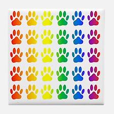 Rainbow Paw Print Pattern Tile Coaster