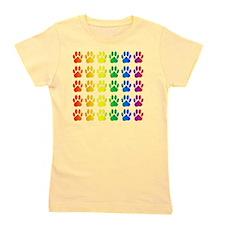 Rainbow Paw Print Pattern Girl's Tee
