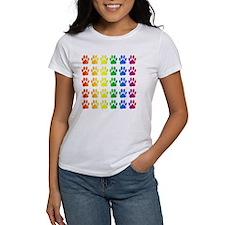 Rainbow Paw Print Pattern Tee