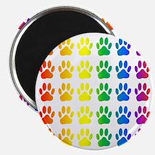 Rainbow Paw Print Pattern Magnet