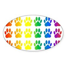 Rainbow Paw Print Pattern Decal