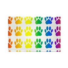 Rainbow Paw Print Pattern Magnets