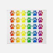 Unique Rainbow paw Throw Blanket
