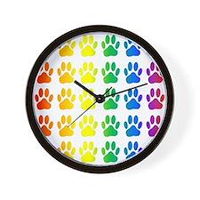 Cute Rainbow paw Wall Clock
