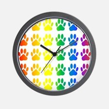 Cute Rainbow paw Wall Clock