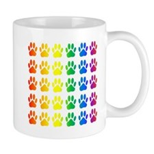 Rainbow Paw Print Pattern Mugs