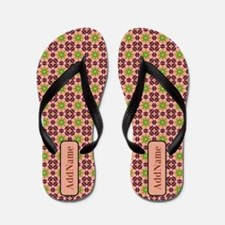 Pastel Pink Green Personalized Flip Flops