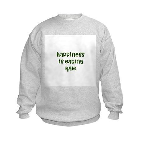 happiness is eating kale Kids Sweatshirt