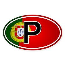 Portuguese Oval Car Sticker - Flag Design