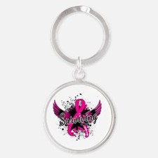 Cute Colon cancer awareness ribbon Round Keychain
