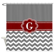 Gray Dark Red Chevron Monogram Shower Curtain