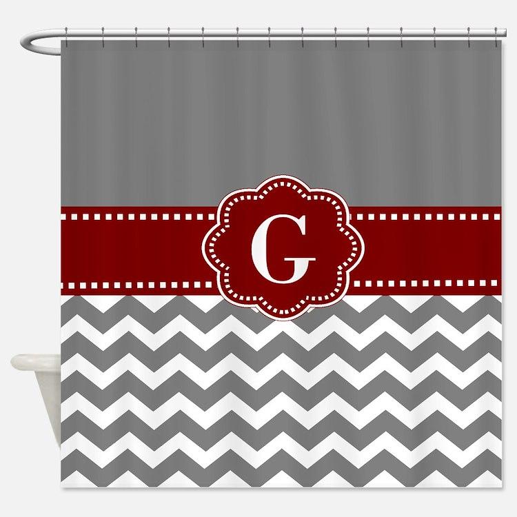 Gray Dark Red Chevron Monogram Shower CurtainRed And Gray Chevron Shower Curtains   Red And Gray Chevron Fabric  . Red And Cream Shower Curtain. Home Design Ideas
