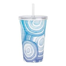 Aqua Purple Circles Acrylic Double-wall Tumbler