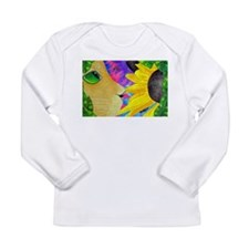 Cat With Hibiscus Long Sleeve T-Shirt