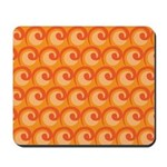 Art Deco Curl Wave orange Mousepad