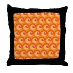 Art Deco Curl Wave orange Throw Pillow