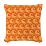 Art Deco Curl Wave orange Woven Throw Pillow