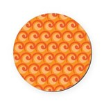 Art Deco Curl Wave orange Cork Coaster