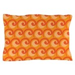 Art Deco Curl Wave orange Pillow Case