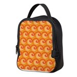 Art Deco Curl Wave orange Neoprene Lunch Bag