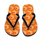 Art Deco Curl Wave orange Flip Flops
