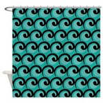 Art Deco Teal Waves Shower Curtain