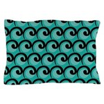 Art Deco Teal Waves Pillow Case