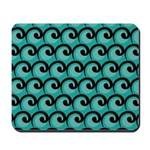 Art Deco Teal Waves Mousepad