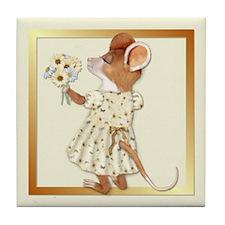 Daisy Bouquet Mouse Tile Coaster