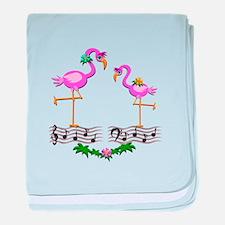 Dancing Pink Flamingos - baby blanket